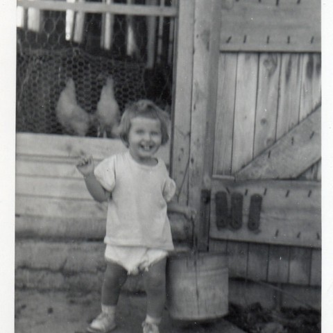 Susan with Chickens