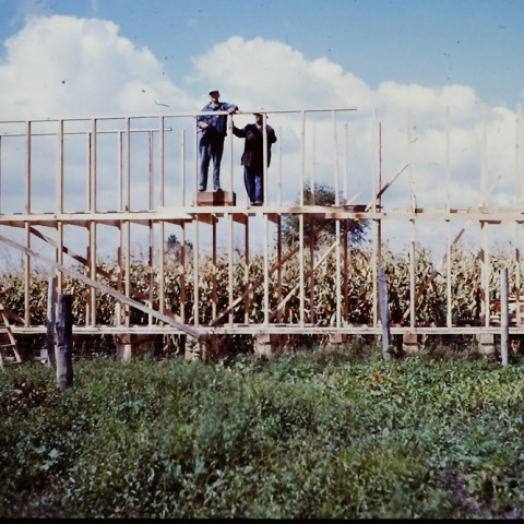My Dad, Walter Roadhouse, with Ernie Roadhouse building our field corncrib