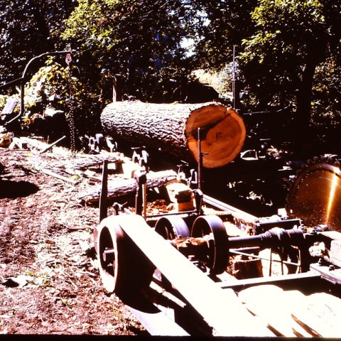Ernie Roadhouse using his saw mill to cut our corncrib lumber