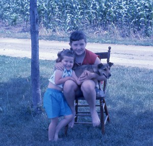 Susan and Pat holding Nip, early 60's